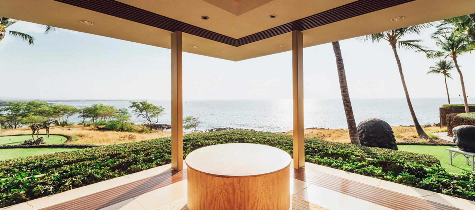 Large window facing ocean